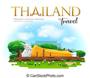 buddha, khun, tervezés, nekitámasztó, köntös, tartomány, ang, szíj, inthapramun, sárga, halánték