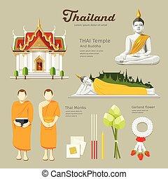 buddha, majmok, halánték, thai ember
