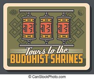 buddhista, yin, lótusz, buddhizmus, yang, könyörgés tol