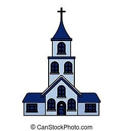 bulding, white háttér, templom