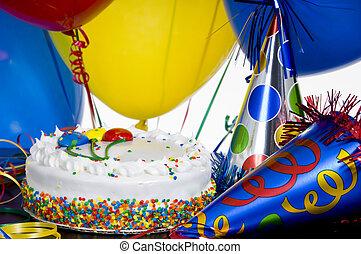 buli kalap, születésnap, léggömb, torta