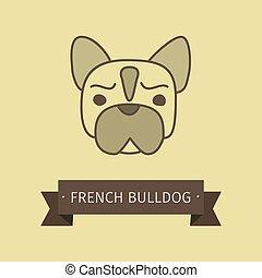 bulldog, jel, fajta, kutya, francia