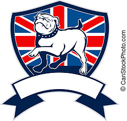 bulldog, lobogó, büszke, brit, angol