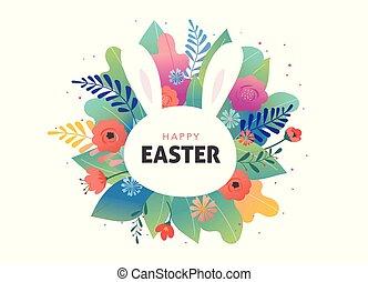 bunny., csinos, -, köszönés, vektor, tervezés, menstruáció, húsvét, kártya