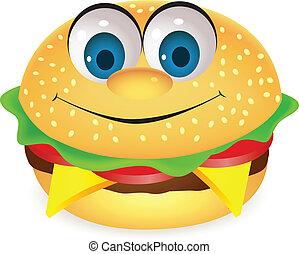 burger, betű, karikatúra