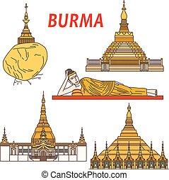 burma, ősi, halánték, színes, buddhista, ikon
