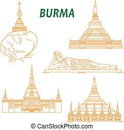 burma, sovány megtölt, ikonok, ősi, buddhista, halánték