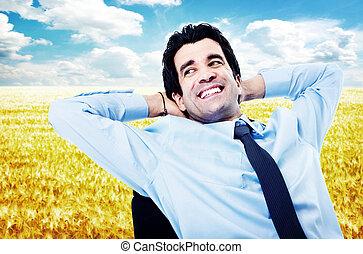 businessman., bágyasztó, boldog