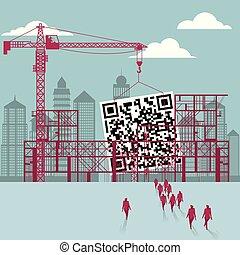 businessmen, construction., épület, házhely., qr, kód, alatt, csoport, sétált