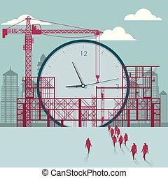 businessmen, construction., házhely., épület, óra, alatt, csoport, sétált