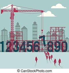 businessmen, construction., házhely., épület, alatt, szám, csoport, sétált
