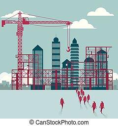 businessmen, construction., házhely., épület, csoport, ház, sétált