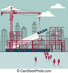 businessmen, construction., házhely., épület, kés, alatt, csoport, sétált