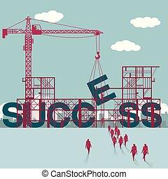 businessmen, construction., házhely., épület, sikeres, csoport, sétált
