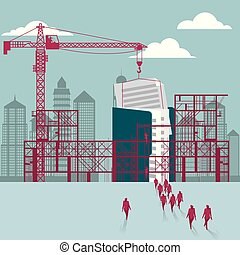businessmen, construction., házhely., adatok, épület, alatt, csoport, sétált