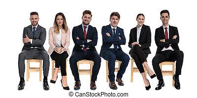businessmen, előmozdít, becsületes, mosolygós, befog, 6, látszó