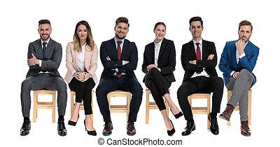 businessmen, előmozdít, mosolygós, befog, fiatal, 6, látszó
