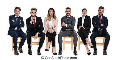 businessmen, előmozdít, pozitív, mosolygós, befog, 6, látszó