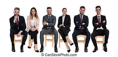businessmen, előmozdít, pozitív, mosolygós, időz, 6, látszó, ülés