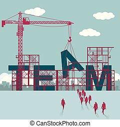 businessmen, házhely., épület szerkesztés, team., csoport, sétált