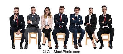 businessmen, pozitív, mosolygós, befog, 7