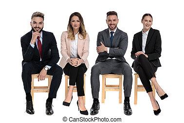 businessmen, pozitív, mosolygós, időz, befog, ülés, 4