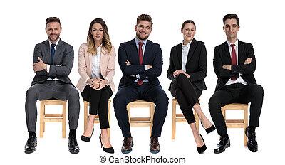 businessmen, pozitív, mosolygós, időz, befog, 5, ülés