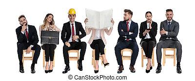 businessmen, várakozás, befog, 7, munka interjú
