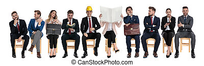 businessmen, várakozás, befog, munka interjú, 10
