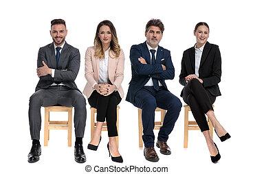 businessmen, vidám mosolyog, befog, 4