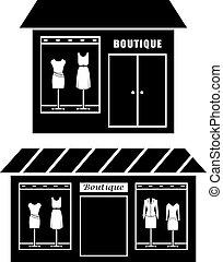 butik, fekete, ikon