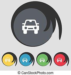 buttons., színezett, autó, cégtábla., vektor, öt, jelkép, ikon
