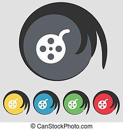 buttons., színezett, cégtábla., vektor, öt, jelkép, film, ikon