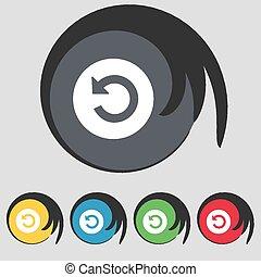 buttons., színezett, cégtábla., vektor, öt, jelkép, ikon