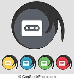 buttons., színezett, cégtábla., vektor, kazetta, öt, jelkép, ikon