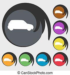 buttons., színezett, dzsip, cégtábla., vektor, nyolc, jelkép, ikon