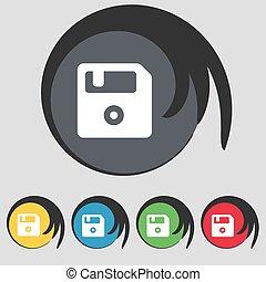 buttons., színezett, floppy, cégtábla., vektor, öt, jelkép, ikon
