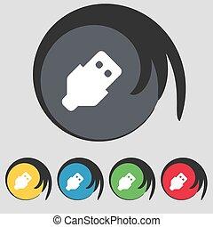 buttons., színezett, jelkép, vektor, öt, ikon, cégtábla., usb