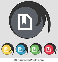 buttons., színezett, könyvjelző, cégtábla., vektor, öt, jelkép, ikon