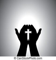 buzgó, méltóság, keresztény, kéz, kereszt