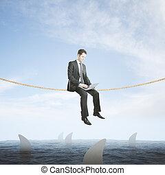 cápa, üzletember, fogalom, kockáztat, felül