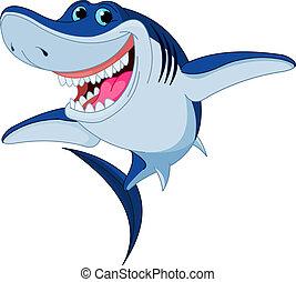 cápa, furcsa, karikatúra