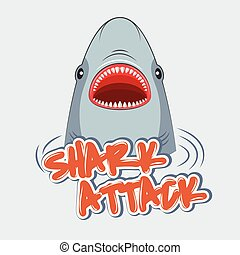 cápa, t-shirts., poszter, aláír, figyelmeztetés, attack.