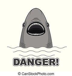 cápa, t-shirts., veszély, poszter, aláír, attack.