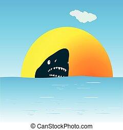 cápa, vektor, tenger, úszás