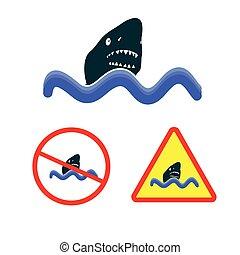 cápa, vektor, tenger, ikon