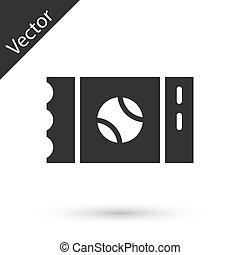 cédula, szürke, ikon, vektor, elszigetelt, fehér, baseball, háttér.