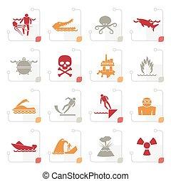 cégtábla, folyók, stilizált, figyelmeztetés, óceán, veszedelmek, tengerpart, tenger