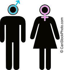 cégtábla, hím, női, pictogram