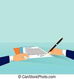 cégtábla, hivatal, ügy, egyezmény, feláll, összehúz, ír, workplace, íróasztal, üzletember, dokumentum, ember